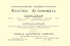 1903 The Vehicle Equipment Co. ELECTRIC VEHICLES HIGH GRADE ELECTRIC AUTOMOBILES PLEASURE VEHICLES COMMERCIAL VEHICLES VEHICLE EQUIPMENT COMPANY The RAINIER COMPANY, General Sales Agents New York, New York 11″x7.25″ page 1