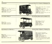 1910 ELECTRIC COMMERCIAL WAGONS. COMMERCIAL BUFFALO PITTSBURG MoToR's 1910 MoToR CAR DIRECToRY Published By MoToR, New York 10″x7.25″ page 166