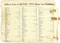Index to Cars in MoToR's 1910 Directory MoToR's 1910 MoToR CAR DIRECToRY Published By MoToR, New York THE NATIONAL MAGAZINE OF MOTORING 10″x7.25″ page 2