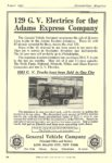 1912 8 G. V. Electric 129 G. V. Electrics for the Adams Express Company General Vehicle Company Long Island City, New York Cosmopolitan Magazine August 1912 6.75″x9.75″ page 104