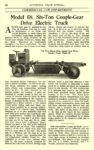 1918 10 ELECTRIC Truck Article Model 68, Six-Ton Couple-Gear Drive Electric Truck Couple-Gear Freight Wheel Co. Grand Rapids, MICH AUTOMOBILE TRADE JOURNAL October 1918 6.25″x10″ page 234