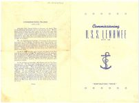"1944 10 11 Commissioning U.S.S. LENAWEE APA 195 ""Destination Tokio"" Commissioned 11 October 1944 11""x8"" Front & Back covers"