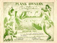 """1944 10 11 PLANK OWNER'S Certificate DESTINATION TOKYO M.J. Ward, Lieutenant—Honorary USS Lenawee Commissioned 11 October 1944 11""""x8.25"""""""