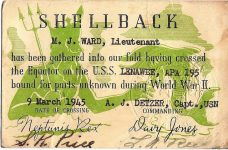 "1945 3 9 SHELLBACK M.J. Ward, Lieutenant Crossed the Equator on the U.S.S. Lenawee, APA 195 on 9 March 1945 4""x2.5"""
