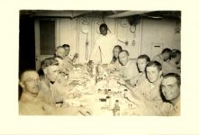 """Taken in the wardroom while at Espiritu Santos (New Hebrides) in March 1945. Third from left."" Martin J. Ward USS Lenawee APA-195 3.75""x2.75"" snapshot"