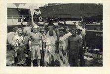 "1945 3 9 Shellback initiation March 9, 1945 Aboard USS Lenawee 3.5""x2.5"""
