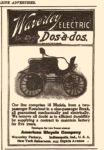 1900 Waverley ELECTRIC Doa-a-dos American Bicycle Company SCRIBNER'S MAGAZINE ADVERTISER 3.25″x4.75″