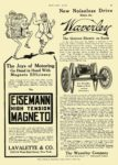 1910 12 1 WAVERLEY Electric New Noiseless Drive The Waverley Company Indianapolis, IND MOTOR AGE December 1, 1910 8.5″x12″ page 97