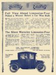1912 11 28 WAVERLEY Electric Full View Ahead Limousine-Four The Waverley Company Indianapolis, IND MOTOR AGE November 28, 1912 8.25″x11.75″