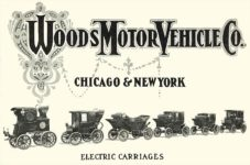ca. 1903 WOODS Woods Motor Vehicle Co. CHICAGO & NEW YORK ELECTRIC CARRIAGES ELECTRIC CARRIAGES 7.75″5.25″ folded Back cover