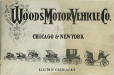 ca. 1903 WOODS Woods Motor Vehicle Co. CHICAGO & NEW YORK ELECTRIC CARRIAGES ELECTRIC CARRIAGES 7.75″5.25″ folded Front cover