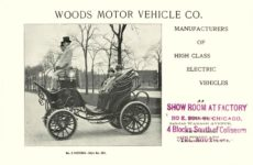 ca. 1903 WOODS Woods Motor Vehicle Co. CHICAGO & NEW YORK ELECTRIC CARRIAGES MANUFACTURERS OF HIGH CLASS ELECTRIC VEHICLES No. 3 VICTORIA – Style No. 201 7.75″5.25″ folded page 1