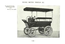 ca. 1903 WOODS Woods Motor Vehicle Co. CHICAGO & NEW YORK ELECTRIC CARRIAGES WAGONETTE WITH CANOPY TOP – Style No. 262 7.75″5.25″ folded page 20