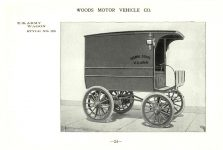ca. 1903 WOODS Woods Motor Vehicle Co. CHICAGO & NEW YORK ELECTRIC CARRIAGES U. S. ARMY WAGON – Style No. 28 7.75″5.25″ folded page 24