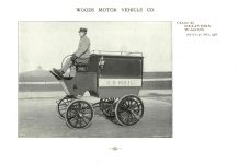 ca. 1903 WOODS Woods Motor Vehicle Co. CHICAGO & NEW YORK ELECTRIC CARRIAGES COACH DELIVERY WAGON – Style No. 27 7.75″5.25″ folded page 25
