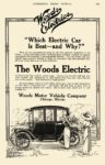 "1913 7 WOODS Electric ""Which Electric Car Is Best – and Why? Woods Motor Vehicle Company Chicago, ILL AUTOMOBILE TRADE JOURNAL July 1913 6″x9.5"" page 213"