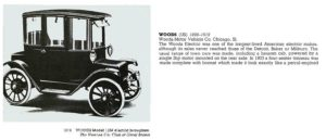 1914 WOODS Model 1334 electric brougham WOODS Motor Vehicle Co Chicago, ILL 1899-1919 THE NEW ENCYLOPEDIA OF MOTORCARS 1885 to the Present Edited by G. N. Georgano E. P. Dutton New York 1982 ISBN: 0-525-93254-2 8.25″x11″ page 674