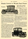 1916 8 31 WOODS Electric Simple Control in Woods Dual Power Woods Motor Vehicle Company Chicago, ILL THE AUTOMOBILE August 31, 1916 8.5″x12″ page 364