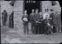 1893 ca. Mr. R H.C. Hinnman, Chas Goodthunder, Rev. J. St Clair, Miss Whipple, Bishop and Mrs Whipple, Miss Salisbury, Goodthunder  St. Cornelia's Episcopal Church, Morton, Minnesota