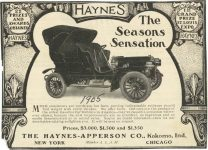 1905 HAYNES The Season's Sensations 1ST GRAND PRIZE ST. LOUIS EXPO 22 PRIZES AND AWARDS OBTIANED Haynes-Apperson Co. Kokomo, Indiana THE AUTOMOBILE