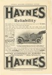 1907 HAYNES Haynes Reliability The makers of the Haynes have been developing their car for 13 years Haynes Automobile Company Kokomo, Indiana MUNSEY'S MAGAZINE ADVERTISING SECTION