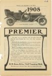 1908 PREMIER Premier new 7-passenger Touring Car Six Cylinders 45 Horsepower Aluminium Body Price $3750 Premier Motor Mfg. Co. Indianapolis, Indiana McClure's -The Market place of the World 1908 page 67