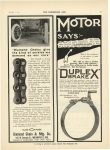 """1910 11 2 DIAMOND CHAIN """"Diamond Chains give the kind of service we demand on our cars"""" From Rauch & Lang Carriage Co. Diamond Chain & Mfg. Co. Indianapolis, Indiana THE HORSELESS AGE November 2, 1910 page 31"""
