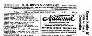 1915 National Motor Car Ad Directory