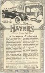 "1916 10 HAYNES America's Greatesr ""Light Twelve"" For the Woman of refinement Haynes Automobile Company Kokomo, Indiana"