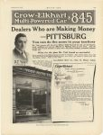 1917 9 6 CROW-ELKHART mulit-powered car $845, Dealers who are Making Money – PITTSBURG YOST AUTOMOBILE COMPANY DISTRIBUTOR CROW-ELKHART AUTOMOBILES, 5706 PENN AVENUE, PITTSBURGH, PA MOTOR AGE page 107
