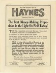 "1917 8 23 HAYNES The 25th Successful Year of HAYNES The Best Money-Making Proposition in the ""Light Six"" Field today! Haynes Automobile Company Kokomo, Indiana MOTOR AGE August 23, 1917 page 61"
