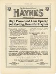 1917 9 6 HAYNES High Power and Low Upkeep Sell the Big, Beautiful Haynes Haynes Automobile Company Kokomo, Indiana MOTOR AGE September 6, 1917 page 103