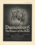 1918 DUESENBERG The Power of the Hour Aeroplane Automobile Marine Engines DUESENBERG MOTOR CORPORATION 120 BROADWAY, NEW YORK MOTOR LIFE INCLUDING MOTOR PRINT page 12