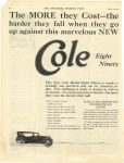 1922 3 25 The more they Cast – the harder they fall when they go up against the Marvelous New Car EIGHT NINETY $2485 COLE MOTOR CAR COMPANY, INDIANAPOLIS U.S.A. THE SATURDAY EVENING POST page 78