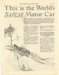1922 5 20 This is the World's Safest Motor Car COLE MOTOR CAR COMPANY, INDIANAPOLIS U.S.A. THE SATURDAY EVENING POST page 102