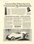 1922 6 HAYNES AMERICA'S BLUE RIBBON Sport Car The HAYNES 75 SPEEDSTER POWER, BALANCE, SPEED – a mile in 48 Seconds Haynes Automobile Company Kokomo, Indiana MOTOR LIFE June, 1922 page 37