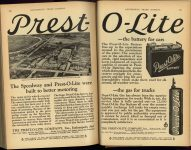 1923 6 PREST-O-LITE The Speedway and Prest-O-Lite were built to better motoring Prest-O-Lite Co., Inc. Indianapolis, Indiana AUTOMOBILE TRADE JOURNAL June, 1923 pages 220 & 221