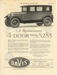 1926 1 30 DAVIS A Revolutionary 4-Door Sedan at $1285 George W. Davis Motor Car Co., Richmond, Indiana January, 1926 THE SATURDAY EVENING POST page 176