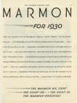 1930 1 4 MARMON MARMON FOR 1930 – THE MARMON BIG EIGHT – THE EIGHT – 69 – THE EIGHT – 79 THE MARMON – ROOSEVELT Marmon Motor Car Company Indianapolis, Indiana Indiana THE SATURDAY EVENING POST January 4, 1930 page 89