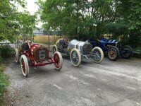 2016 6 21 Three automobiles in the reenactment of the 1909 Coby Cup Crown Point, Indiana June