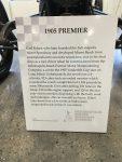1905 PREMIER race car IMS sign 6 16