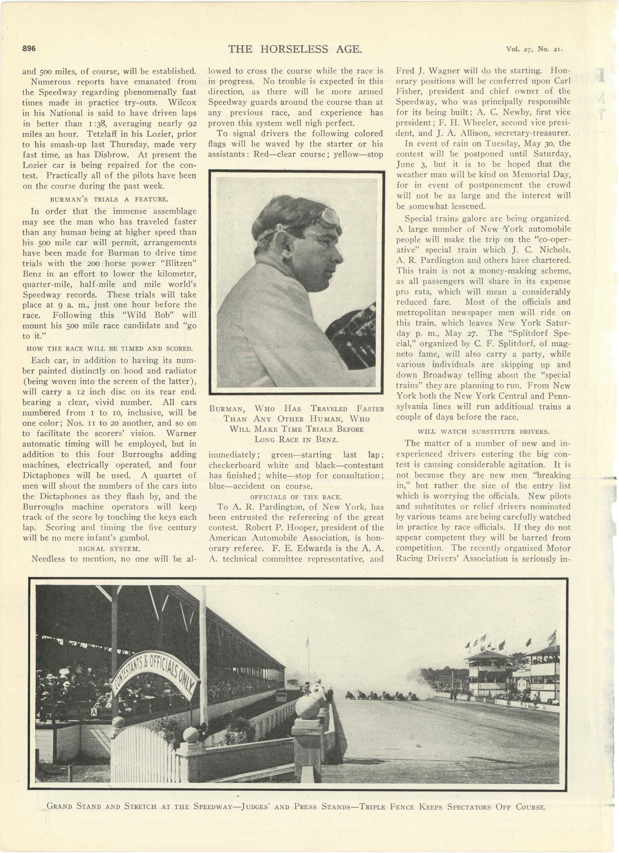 1911 5 24 INDY 500 International Sweepstakes Over 500 Mile