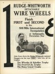 1913 6 12 RUDGE-WHITWORTH DETACHABLE WIRE WHEELS. Finish FIRST and SECOND in the 500 Mile International Sweepstakes at Indainapolis, Decoration Day MOTOR AGE page 62