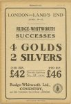 1925 4 29 LONDON – LANDS END, April 10-11 RUDGE-WHITWORTH SUCCESSES 4 GOLDS, 2 SILVERS MOTOR CYCLING page 10