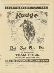 1935 6 27 LIGHTWEIGHT T.T. 1935 RUDGE. 2nd H.G. TYRELL-SMITH, 3rd G.E. NOTT, 5th J. WILLIAMS, 9th L.P. HILL. RIDE THE DEPENDABLE RACE-BRED RUDGE MOTOR CYCLING page 25