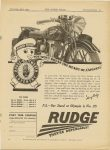 """1935 11 28 JOHNNY RUDGE, YOU WON'T BREAK THE HEART OF A """"SPECIAL"""" RUDGE- THEY'RE DEPENDABLE! MOTOR CYCLING page 31"""