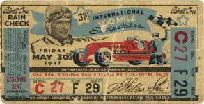 1947 Indy 500 ticket 5″×2″ front