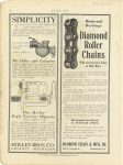 1907 7 4 DIAMOND CHAIN Diamond Roller Chains will not become loose in Side Bars Diamond Chain & Mfg. Co. Indianapolis, Indiana MOTOR AGE July 4, 1907 9″×11″ page 66