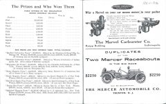 1911 or 1912 Indy 500 program Prizes