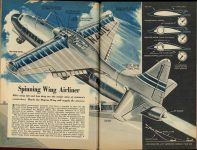 1950 8 Spinning Wing Airliner Popular Mechanic Airplane pages 96 & 97